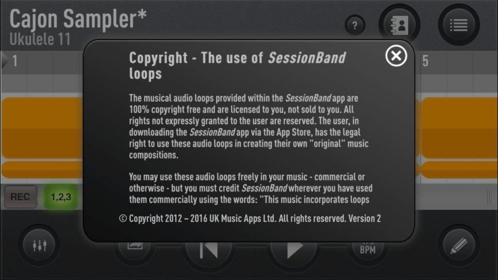 Copyright - The Use of SessionBand Loops