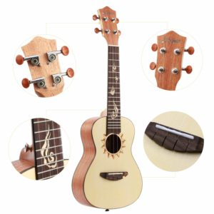 Donner Concert Ukulele Mahogany DUS-3 23 inch with Ukulele Set Strap Nylon String Tuner