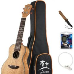 Donner Concert Ukulele Zebrawood Set Review-Pin