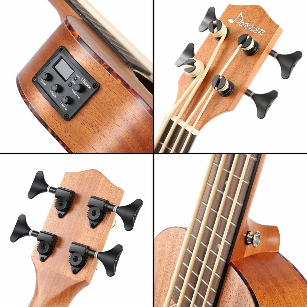 Donner Ubass DUB-1 30 inch Electric Bass Ukulele Mahogany Body with Case_4