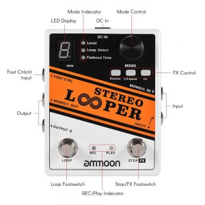 ammoon Stereo Looper Pedal Electric Guitar Effect Pedal 10 Independent Loops Max. 10 minutes Recording Time Unlimited Overdubbing
