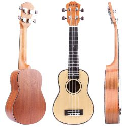 REGIS 21 Inch Spruce Soprano Ukulele Review with Aquila Strings, Tortoise Style Binding, Oxen Bone Saddle(Spruce)